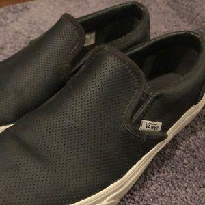 BLACK PERFORATED VANS SLIP ONS